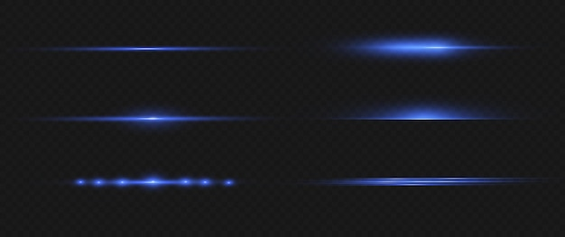 Niebieskie poziome flary obiektywu pack