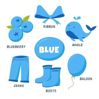 Niebieskie przedmioty i słownictwo ustawione w języku angielskim