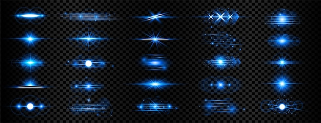 Niebieskie przezroczyste soczewki z efektem świetlnym mega kolekcja