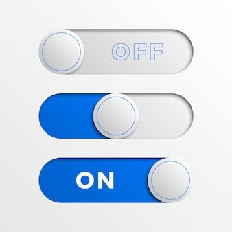 Niebieskie przyciski interfejsu przełącznika. 3d realistyczny suwak włączania / wyłączania