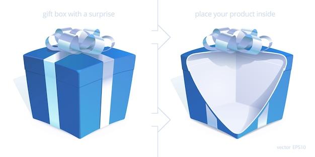 Niebieskie pudełka prezentowe ze srebrną kokardką. realistyczne pudełko 3d jest otwarte z wycięciem, aby pokazać ukryty produkt jubilerski. oryginalny szablon na dwie strony kartki okolicznościowej, aby uzyskać efekt zaskoczenia.