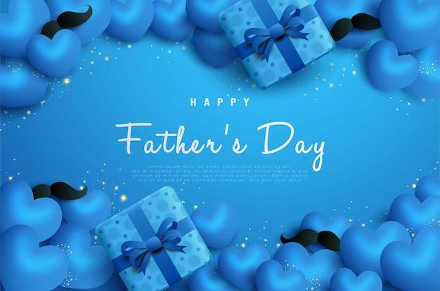 Niebieskie pudełko na prezent szczęśliwego ojca.