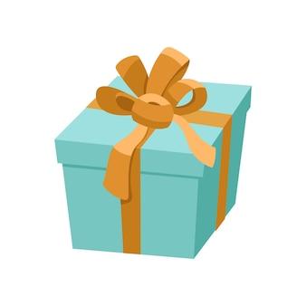 Niebieskie pudełko ze złotą wstążką i satynową kokardką