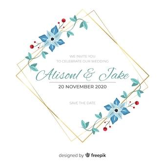 Niebieskie ręcznie malowane zaproszenie na ślub kwiatowy