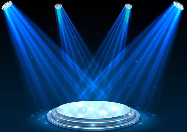 Niebieskie reflektory z białym podium na ciemnym tle