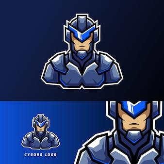 Niebieskie robotyczne logo cyborga w sportowym stylu esport z żelaznym mundurem