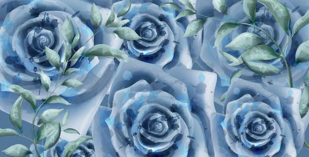 Niebieskie róże transparent akwarela