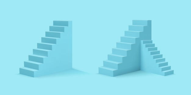 Niebieskie schody w realistycznym stylu