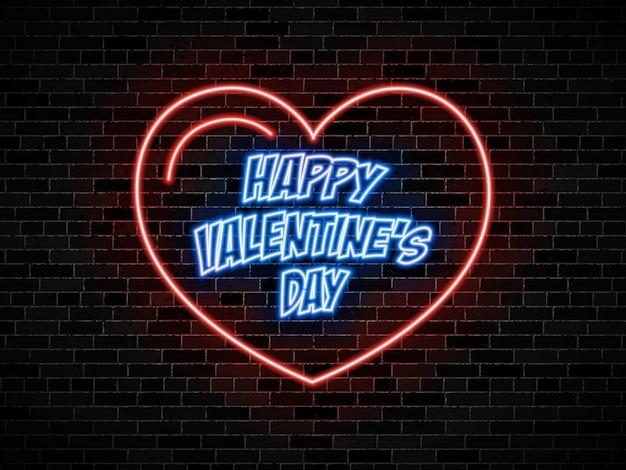Niebieskie słowa 'szczęśliwych walentynek w neonowym sercu czerwony znak