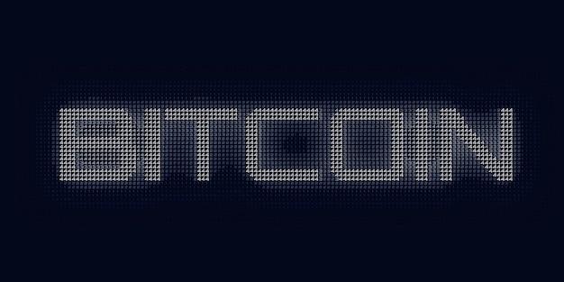 Niebieskie słowo bitcoin zbudowane z liczb.