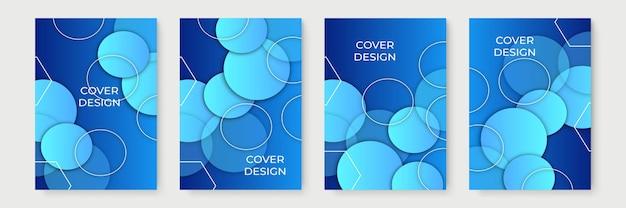 Niebieskie streszczenie gradientowe geometryczne wzory okładek, modne szablony broszur, kolorowe futurystyczne plakaty. ilustracja wektorowa