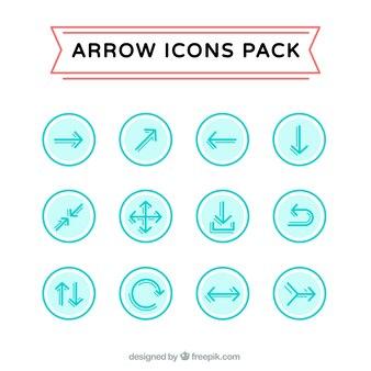 Niebieskie strzałki ikony pack