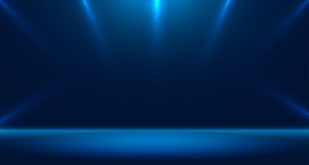 Niebieskie studio pustego pokoju używane do tła i wyświetlania banera do projektowania treści dla reklamy