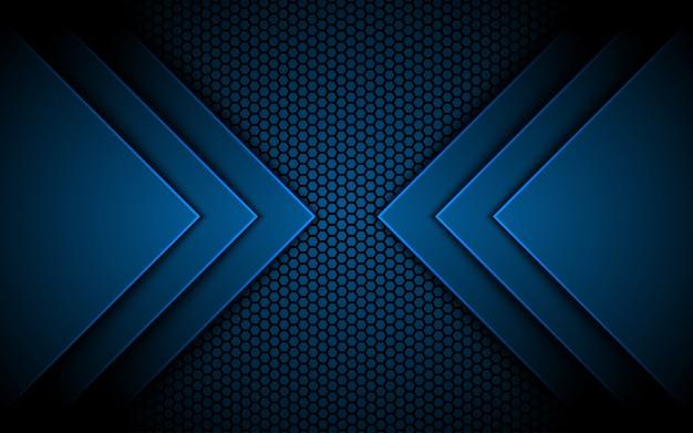 Niebieskie światło kierunek strzałki 3d, sześciokątne tło teksturowane,