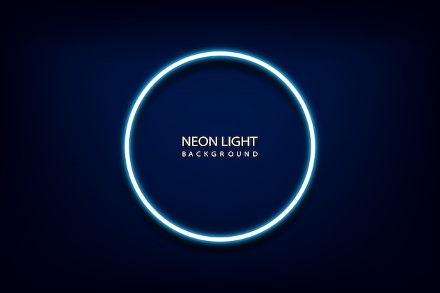 Niebieskie światło neon koło rama tło.