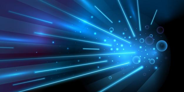 Niebieskie światło prędkości ze świecącymi liniami w tle