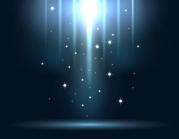 Niebieskie świecące światło wybucha na ciemnym tle