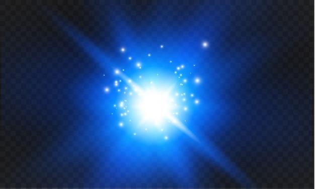 Niebieskie świecące światło wybucha na przezroczystym tle. lśniące magiczne cząsteczki pyłu. jasna gwiazda. przezroczyste świecące słońce, jasny błysk. błyszczy aby wyśrodkować jasny błysk.