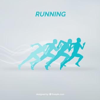 Niebieskie sylwetki biegaczy tle