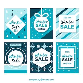 Niebieskie szablony kart zimowej sprzedaży