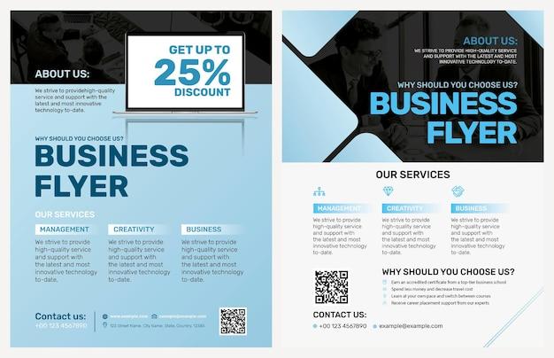 Niebieskie szablony ulotek biznesowych w nowoczesnym stylu