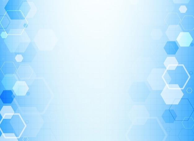 Niebieskie sześciokątne tło struktury molekuły
