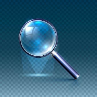 Niebieskie szkło powiększające na przezroczystym tle. ilustracja wektorowa