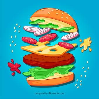 Niebieskie t? o burger z pysznych sk? adników