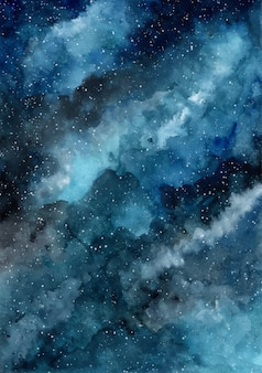 Niebieskie tło akwarela galaxy