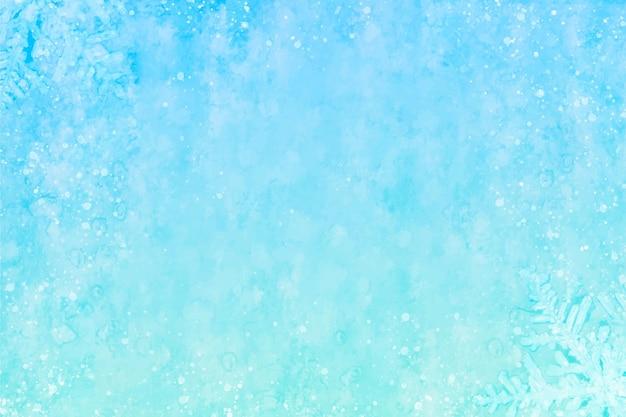 Niebieskie tło akwarela zima