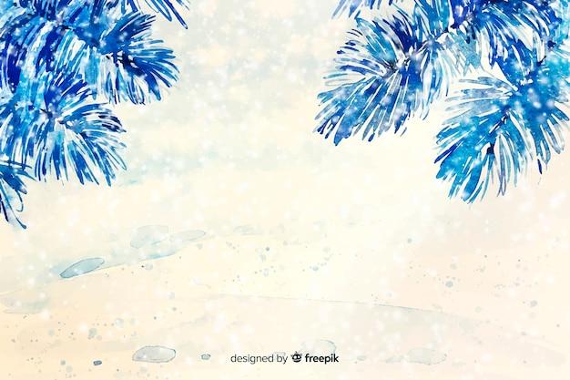 Niebieskie tło boże narodzenie akwarela