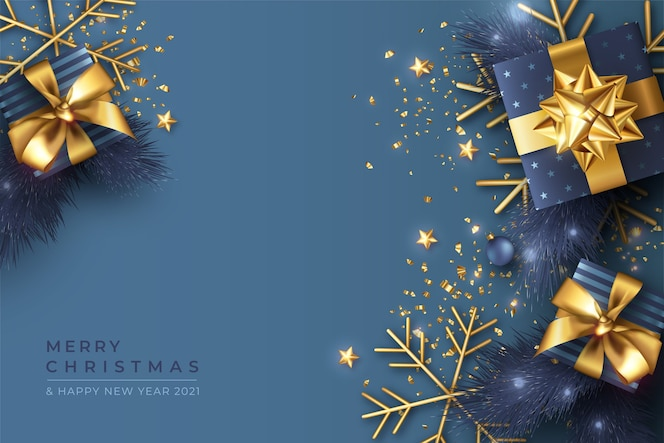 Niebieskie tło boże narodzenie z realistycznymi prezentami i ozdobami