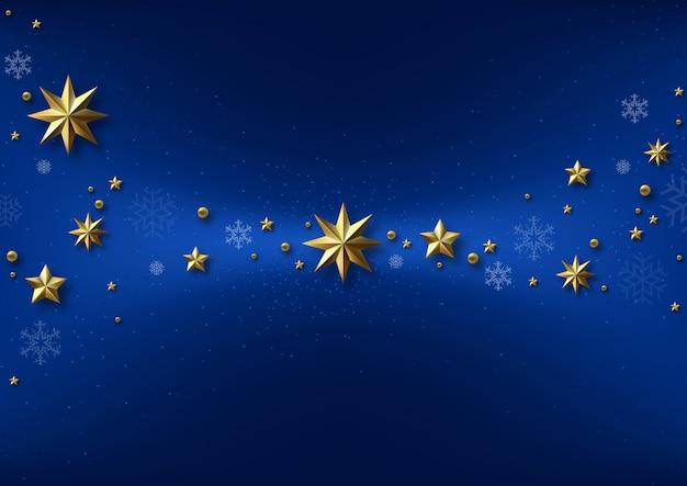 Niebieskie tło boże narodzenie ze złotymi gwiazdami