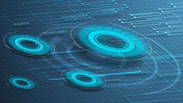 Niebieskie tło cyfrowe dla twojej kreatywności za pomocą okrągłych wykresów