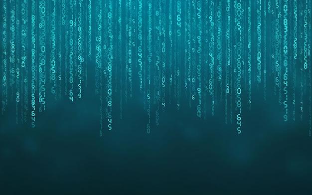 Niebieskie tło cyfrowe matrycy. spadające liczby cyfrowa technologia sieciowa. futurystyczna cyberprzestrzeń. ilustracja wektorowa.