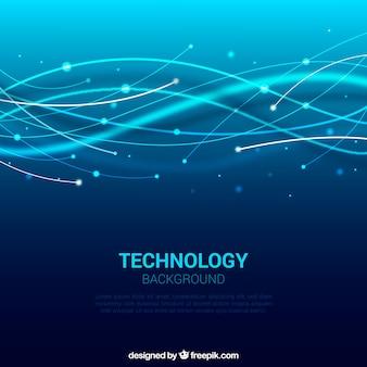 Niebieskie tło fale technologiczne