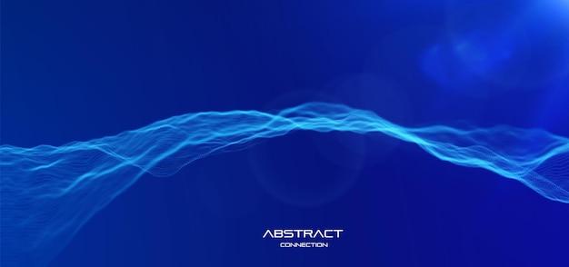 Niebieskie tło fali cząstek. streszczenie dynamiczne siatki. technologia dużych zbiorów danych. ilustracja wektorowa siatki.