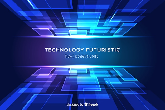 Niebieskie tło futurystyczne z kształtami