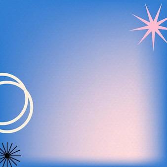 Niebieskie tło gradientowe w abstrakcyjnym memphis z retro obramowaniem