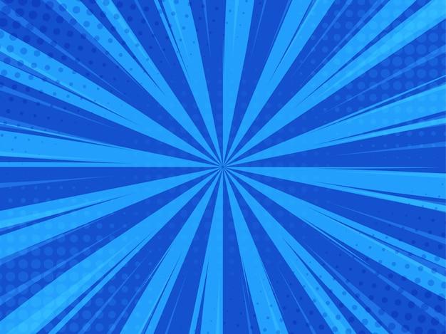 Niebieskie tło komiks kreskówka światło słoneczne.