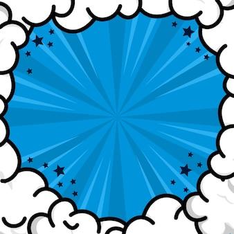 Niebieskie tło komiksowego pop-artu z ramką w chmurze
