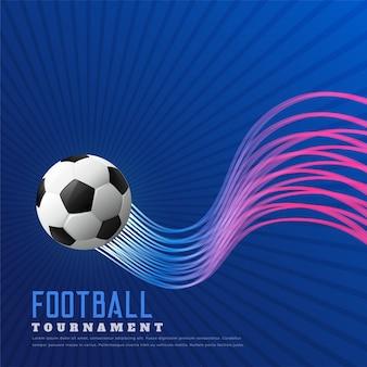 Niebieskie tło meczu piłki nożnej z błyszczącymi falistymi liniami