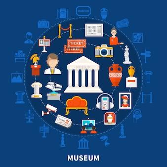 Niebieskie tło muzeum z kolorowymi ikonami w okrągłym kształcie, w tym paleontologiczne archeologiczne historyczne artefakty i płaskie przedmioty artystyczne
