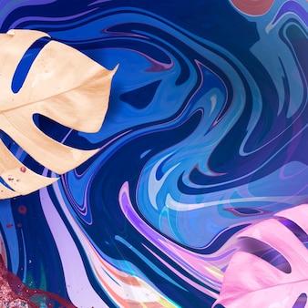 Niebieskie tło płynnej sztuki z liściem