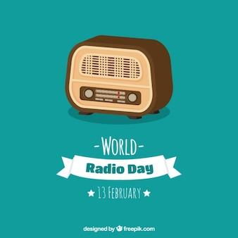 Niebieskie tło retro radia w płaskiej konstrukcji