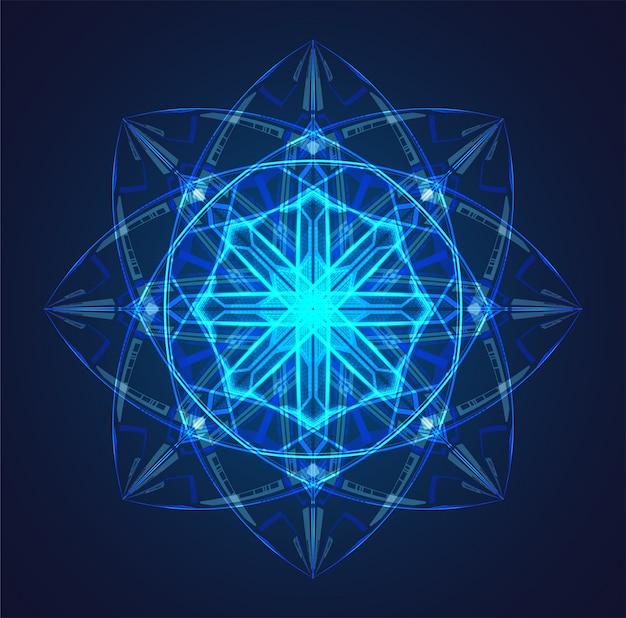 Niebieskie tło schematu świecącego atomu