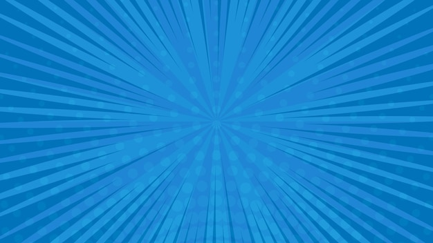 Niebieskie tło strony komiksu w stylu pop-art z pustej przestrzeni. szablon z promieniami, kropkami i teksturą efektu półtonów. ilustracja wektorowa