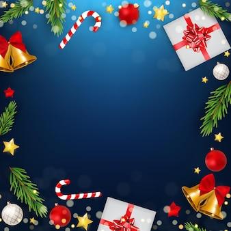 Niebieskie tło strony świąteczne wakacje. szczęśliwego nowego roku i wesołych świąt plakat szablon. ilustracja wektorowa