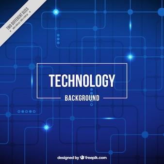 Niebieskie tło technologiczne z jasnym obwodów