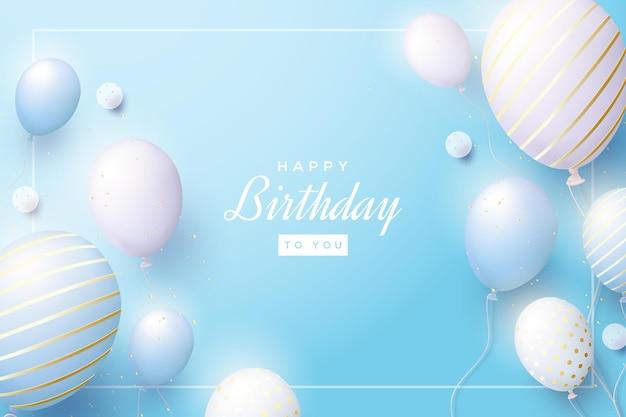 Niebieskie tło urodziny z realistycznymi balonami